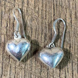 925 Sterling Silver Dangle Heart Earrings